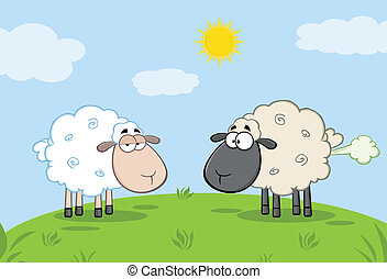 White Sheep And Farting Black Sheep - White Sheep And...