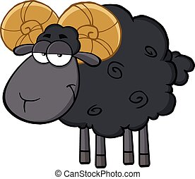 Cute Black Ram Sheep
