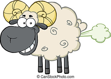 Smiling Black Head Ram Sheep Cartoon Mascot Character With...