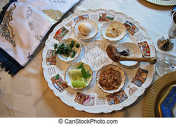 Traditional Passover Seder Plate in Dining Room
