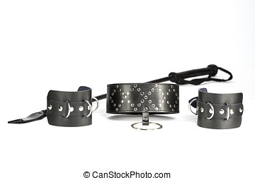 Fetish hand cuffs, collar and whip - Fetish Hand cuffs,...