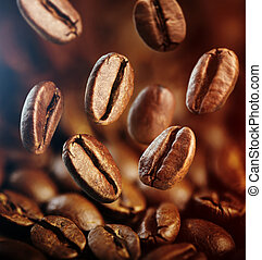 coffee beans - falling coffee beans close up