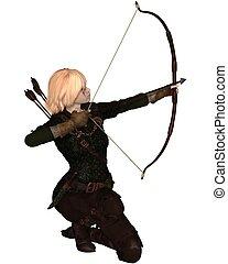 Blonde Female Archer Kneeling - Blonde female archer with...