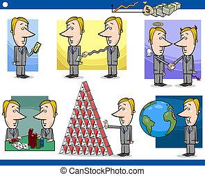 businessmen cartoon characters set - Concept Cartoon...