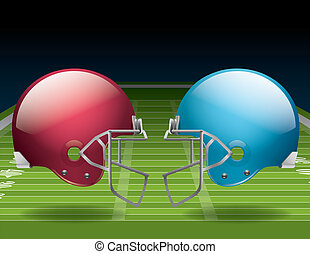 American Football Field and Helmets - An illustration of an...