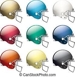 norteamericano, fútbol, cascos