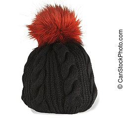 black knit cap with a red pompon - black winter knit hat...