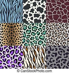 zebra, panther, gifaffe skin print - seamless cow, zebra,...