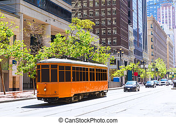 San Francisco Cable car Tram in Market Street California -...