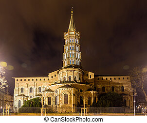 Basilica of St. Sernin by night in Toulouse, France