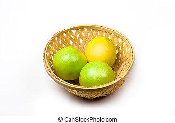 Lemon basket - Nice Bamboo basket having fresh yellow lemon...