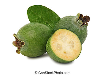 Ripe feijoa with green leaf (isolated) - Ripe feijoa with...
