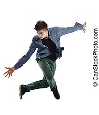 young man dancing - young boy man teen dancing and jumping...