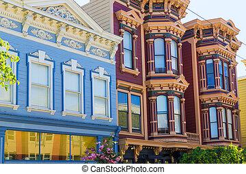 francisco,  San, 太平洋, 高さ, 家,  Victorian, カリフォルニア