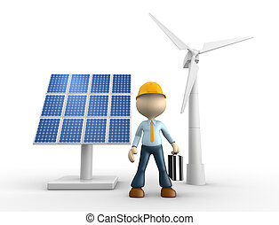 Engineer - 3d people - man, person with solar panels and...