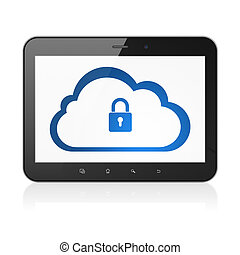 Cloud computing concept: Cloud With Padlock on tablet pc computer