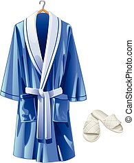 vector blue bathrobe and white slippers on white background