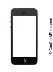 Black modern mobile smart phone with blank screen - Directly...