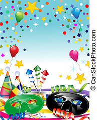 Carnival label - Carnival masks with confetti and balloons...