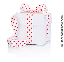 White box tied satin ribbon with heart symbol bow Isolated on white background
