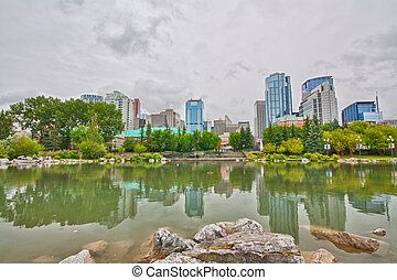 Reflections of Calgary Cityscape - Cityscape of Calgary...