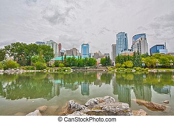 Reflections of Calgary Cityscape - Cityscape of Calgary...