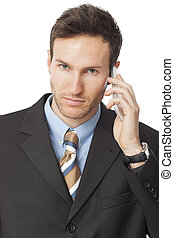 Businessman calling by smart phone. Communication technology.