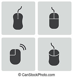Vector black computer mouse icons set