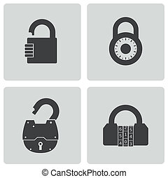 Vector black lock icons set on white background