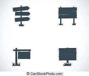 Vector black old wood sign set on white background