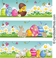 Banner easter - Three banners easter with bunny duckling...