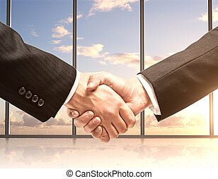 handshake - business handshake in office