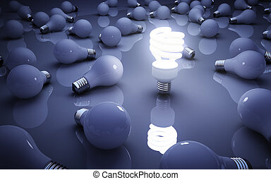 light bulbs on blue bakground, idea concept