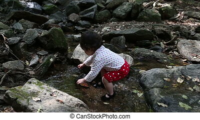 Baby Toddler 1 At the Creek - 1 Baby Korean toddler playing...