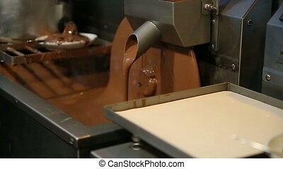 Chocolate machine. - Chocolate machine rotating disk with...