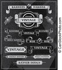 Vintage retro banner scroll set - Vintage retro banner...