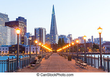 San Francisco Pier 7 sunset in California USA