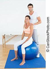 thérapeute, balle,  yoga, fonctionnement, femme, physique