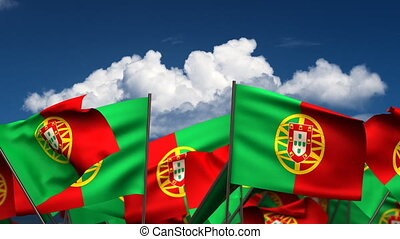 Waving Portuguese Flags seamless alpha channel
