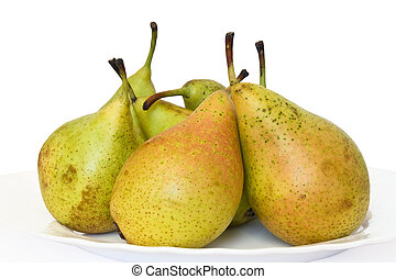 pears - plate with fresh pears on white background