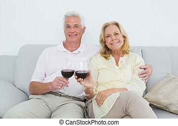 Senior couple toasting wine glasses at home - Portrait of a...