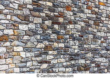 Wall built of natural stone, perspective. Can be used as...