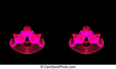 Hot pink dual abstract motion waves on a black background