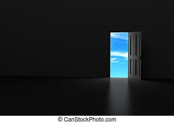 Dark room with open door.