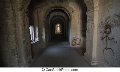 Part of medieval castle, camera flying through tunnel
