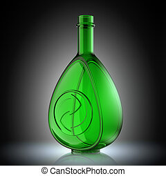 Ecology and recycle concept with glass bottle and recycling symbol. Environment conservation