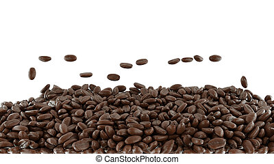 Tossed and mixed roasted coffee beans isolated