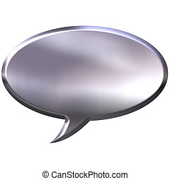3D Silver Speech Bubble - 3d silver speech bubble isolated...
