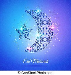 Moon for Muslim community festival Eid Mubarak - Greeting...