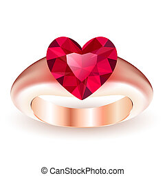Ring with ruby heart shaped
